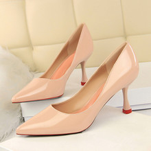 Women Shoes Pumps Patent Leather Thin Heels Sexy Ladies High Heels Shoes Female Pointed Toe Party Shoes Casual Pumps DS-A0142 patent leather high heels red sexy women shoes pointed toe thin heels shoes woman pink black silver female shoe size 40 ds a0146