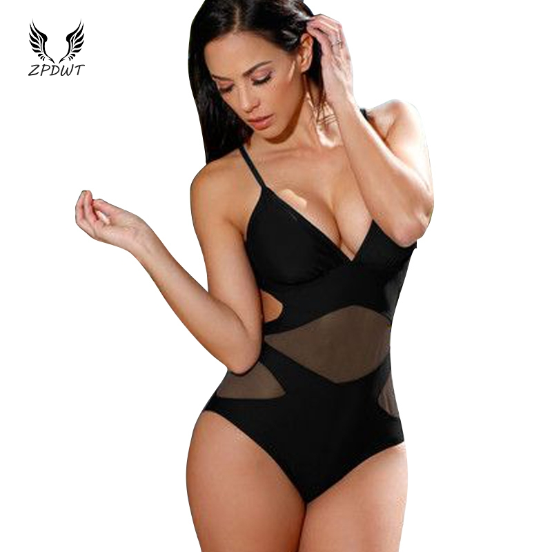 One Piece Swimsuit Mesh Swimwear Push Up High Waist Monokini Mesh One Piece Bathing Suit Black Mesh Monokini Trikini Women