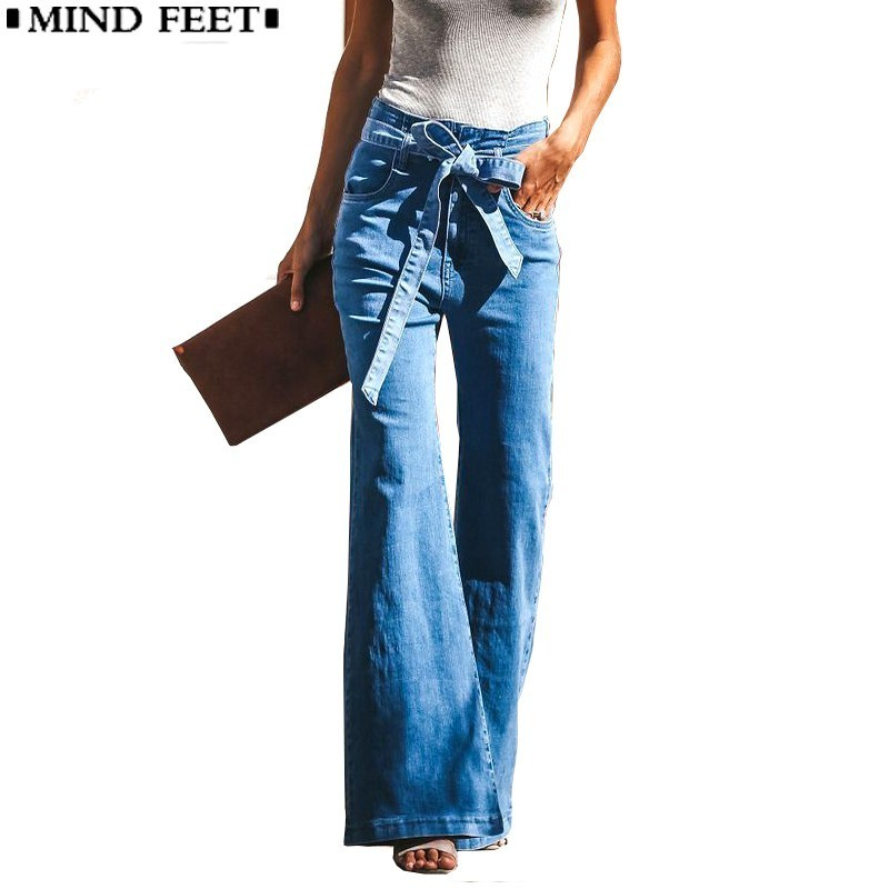 MIND FEET Women Flare   Jeans   Belt Blue Wide Leg Denim Pants Plus Size Spring Autumn Female Fashion Trend Casual Loose Trousers