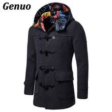 Winter High Quality Mens Woolen Horn Button Coats Fashion Color Block Wool Coat Overcoat Men Windbreaker Jacket Peacoat for Man
