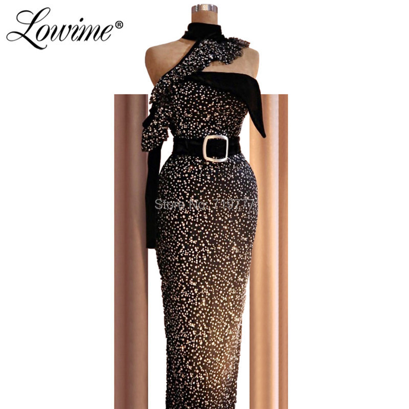 Glitter Black Evening Dresses Dubai Gowns Arabic Turkish Middle East Women One Shoulder Party Gown Robe De Soiree 2019 With Belt