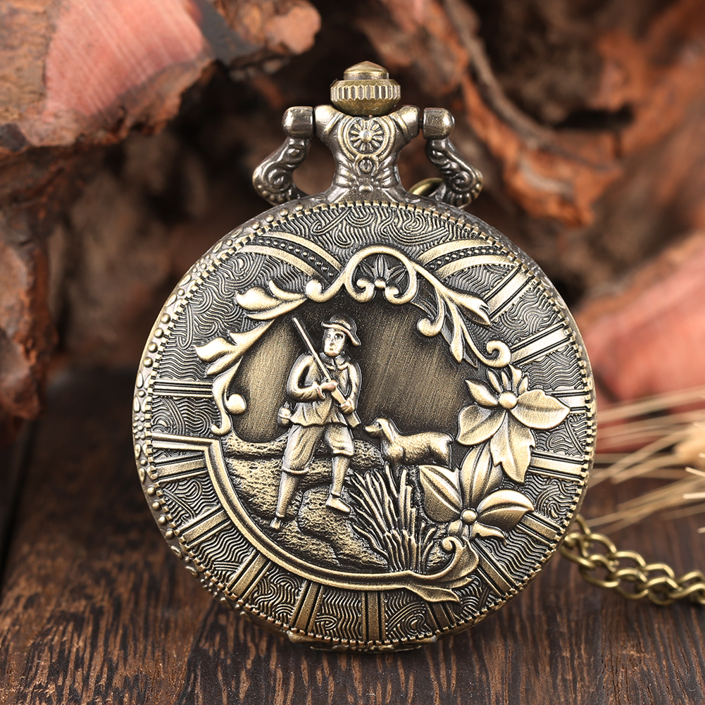 Vintage Bronze Hunter Pattern Pocket Watch Men Quartz Casual Men's Watches Fob Necklace Chain Pentdant Clock Male Gifts