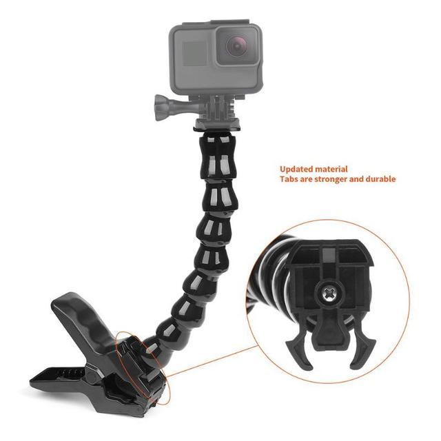 ALLOET Gooseneck Adjustment Jaws Flexible Clamp Clip Mount Holder For GoPro Hero 7 6 5 SJCAM SJ Xiaomi Yi 4K Camera Accessories