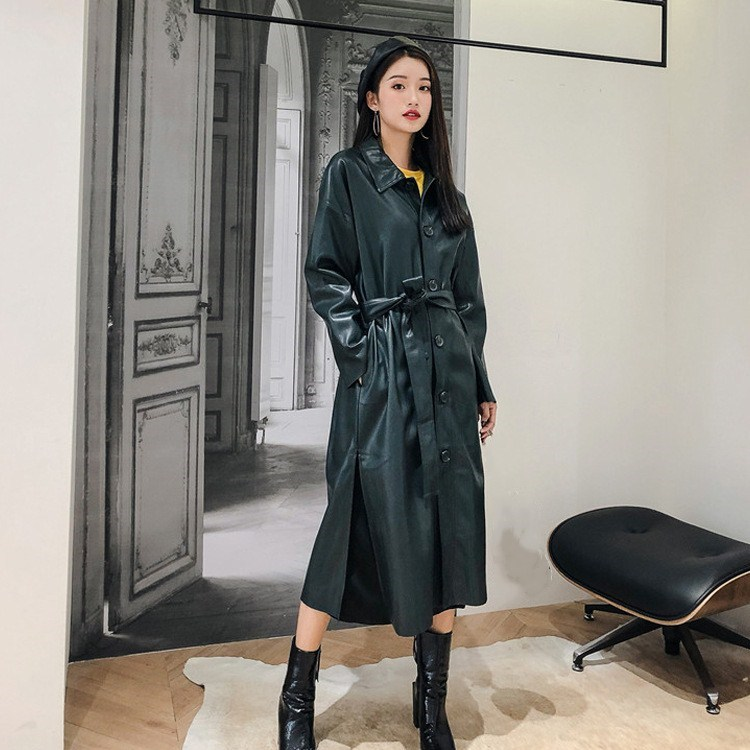 New Women Retro Pu   Leather   Long Jacket Female Long Sleeve Sashes Coat Vestido Autumn Turn-Down Collar Green Outwear