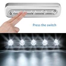 Миниатюрный Ночной светильник с 5 светодиодный, нажимная лампа для шкафа, чулана, работает от аккумулятора, беспроводная настенная лампа для лестницы, ванной, прикроватный светильник