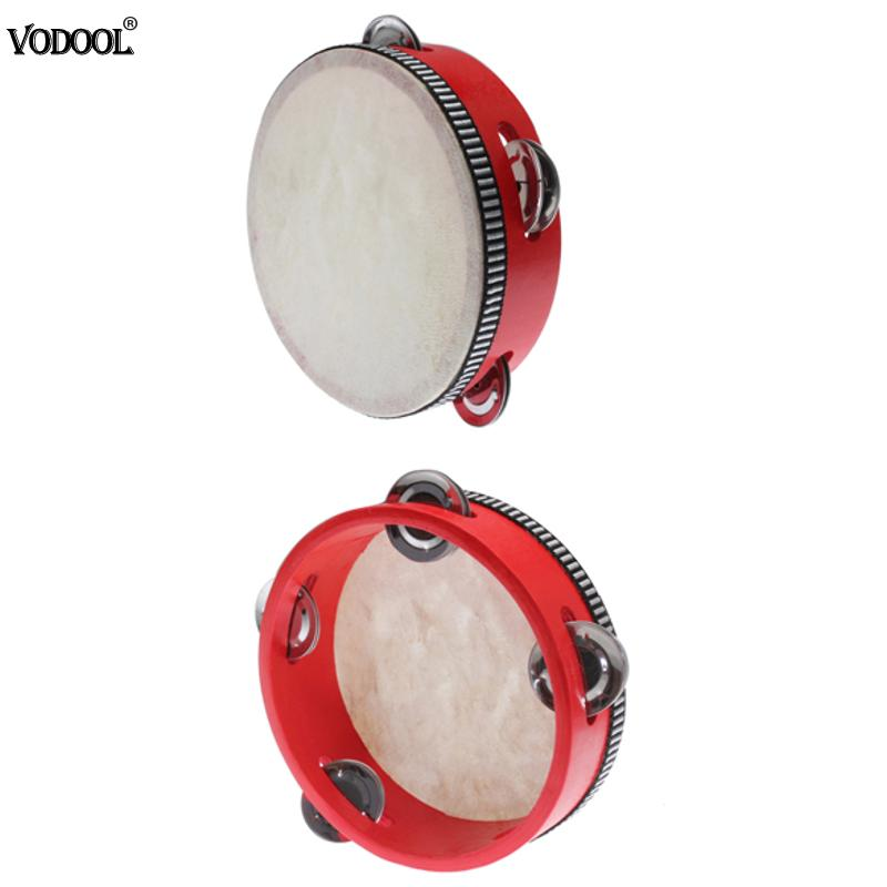Educational Toy Musical Tambourine Beat Instrument Hand Drum Childrens Kids Wood Baby Musical Drum Beat Hand Drum Red