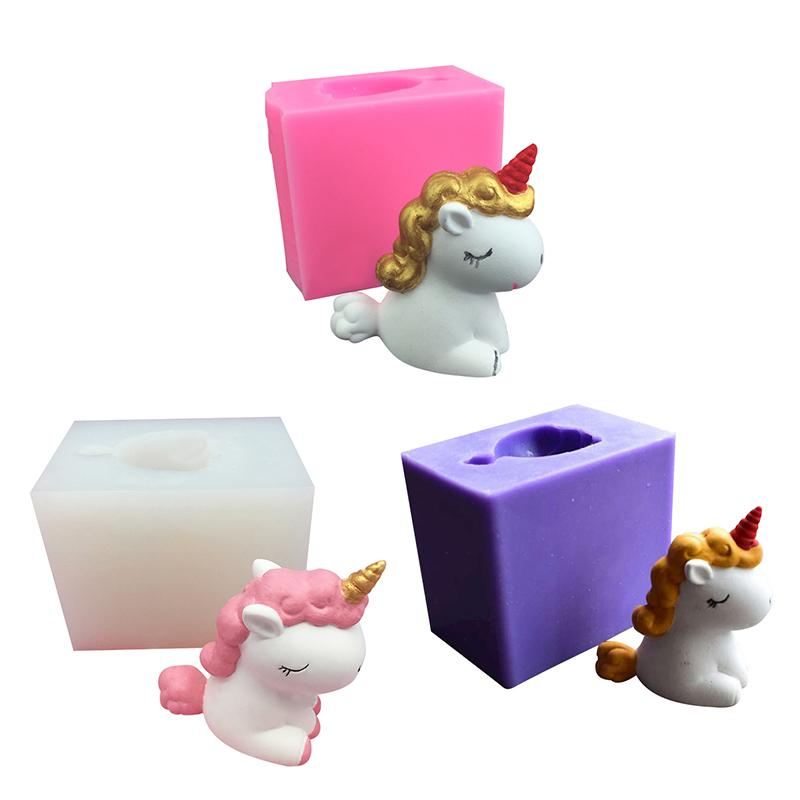 Cute 3D Unicorn Mould Silicone DIY Plaster Aromatherapy Candle Mold Tools Car Ornament Mold Home Decoration Handmade Soap Mould