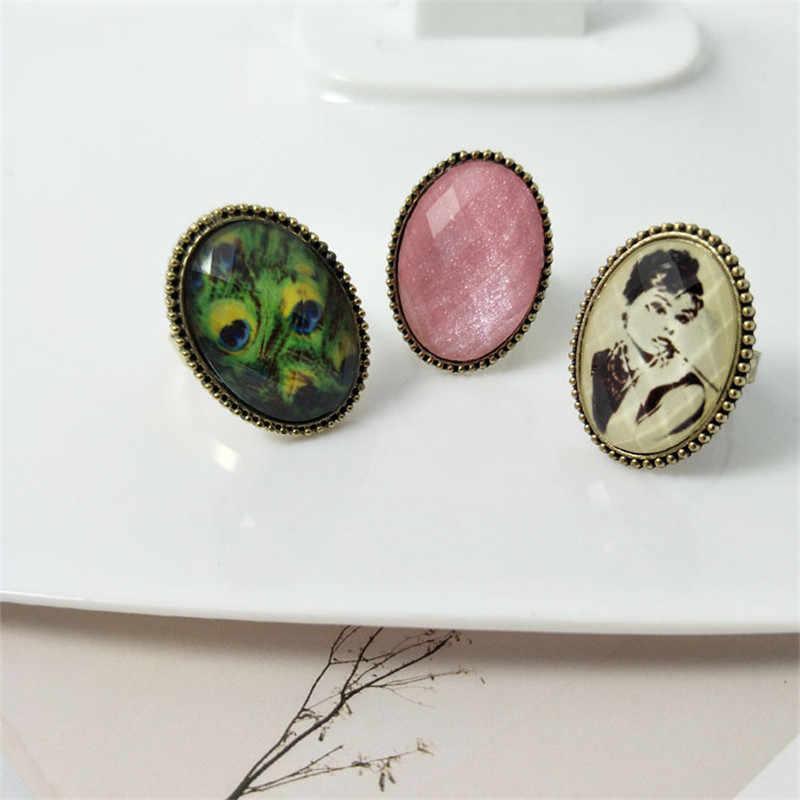 Vintage Ovale Anelli Per I Monili Delle Donne Verde Rosa Anelli di Pietra Per Le Donne Coppia Anello di Fidanzamento di Cerimonia Nuziale Delle Donne Anello di Regali Per delle donne