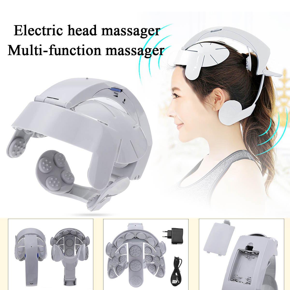 Head Vibration Massage Easy-brain Massager Electric Head Massage Relax Brain Acupuncture Points Stress Release Machine UK/EU/US humanized design electric head massager brain massage relax easy acupuncture points fashion gray health care home