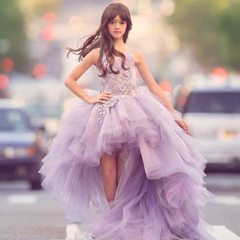 Fantaisie fleur fille robe avec Train 2019 enfants montrent Performance Costume enfants longue sirène Tulle rose robes Boutique vêtements