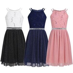 Image 2 - Iiniim adolescente meninas vestido, sem mangas lantejoulas rendas floral vestido brilhante vestido de festa para capina formal da festa de aniversário vestidos de verão