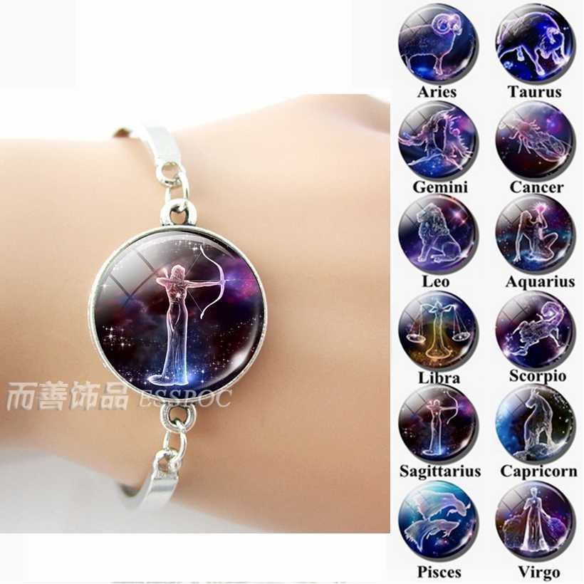 12 Zodiac Signs Glass Dome Constellations Silver Metal Bracelet Fashion Jewelry Women Aries Cancer Libra Leo Virgo Birthday Gift