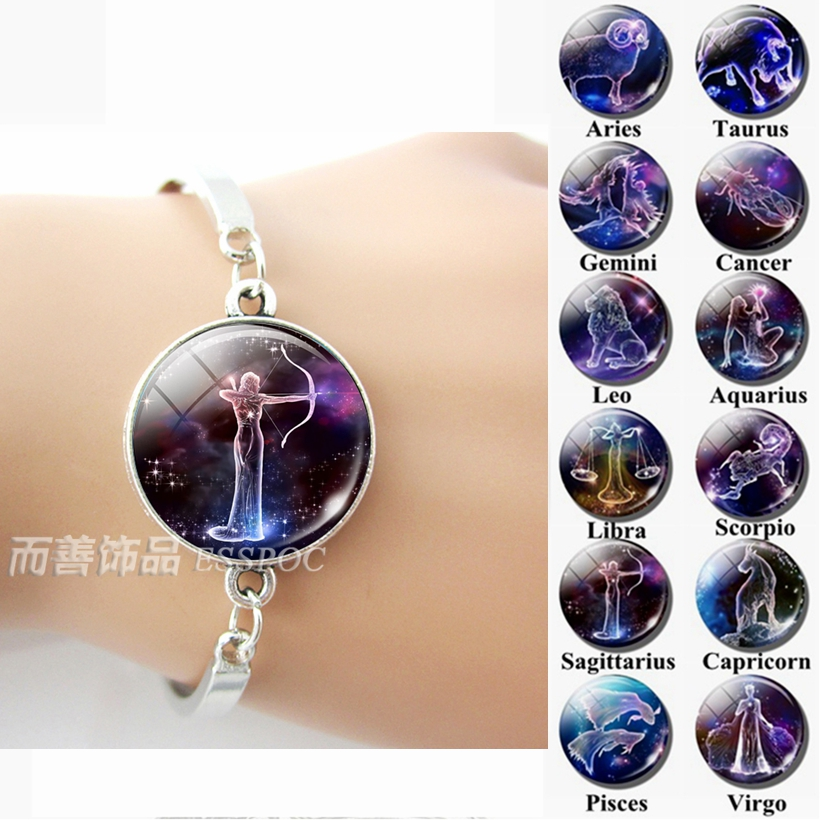 12 Zodiac Signs Glass Dome Constellations Silver Metal Bracelet Fashion Jewelry Women Aries Cancer Libra Leo Virgo Birthday Gift in Charm Bracelets from Jewelry Accessories