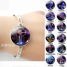 12 Zodiac Signs Glass Dome Constellations Silver Metal Bracelet Fashion Jewelry Women Aries Cancer Libra Leo Virgo Birthday Gift(China)
