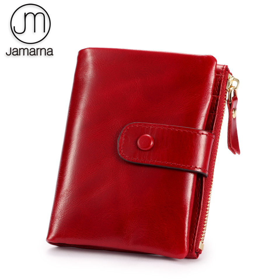 Jamarna Women Wallets Zipper Wallet Female Genuine Leather Slim Small Purse Card Holder Short Red Oil Wax Zipper Coin Pocket