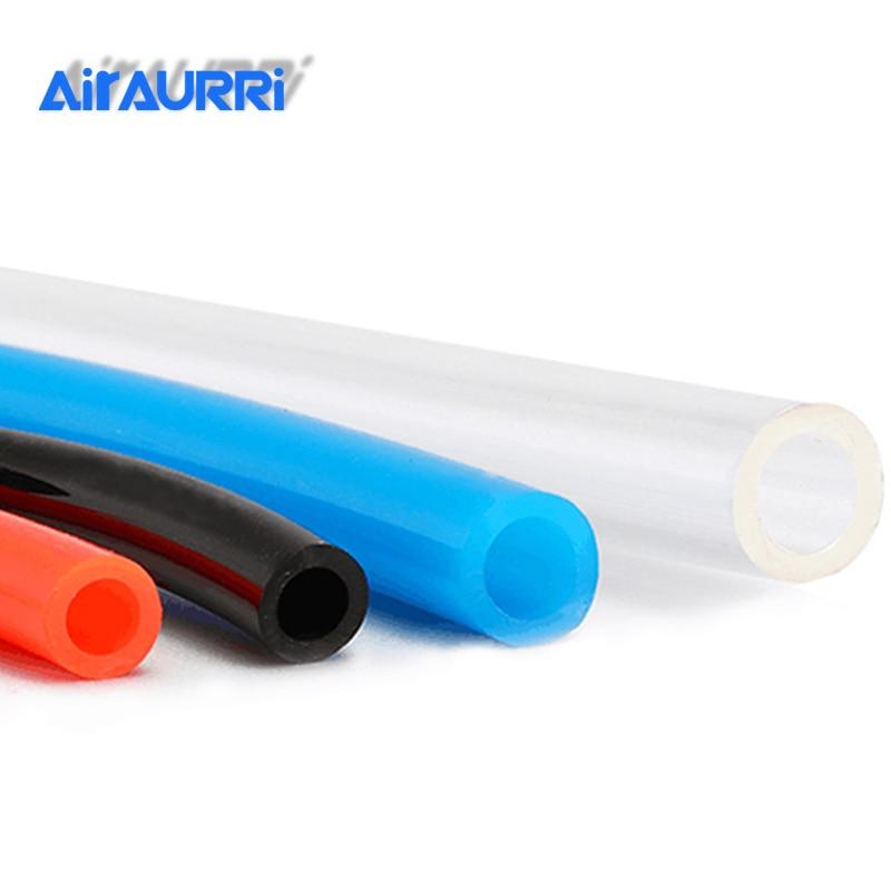 Transparent \ Flexible Tubing Pipe Tube Air Chemical Fuel Oil Pneumatic Polyurethane PU Hose \ 14mm x 10mm \ 1m \ Clear