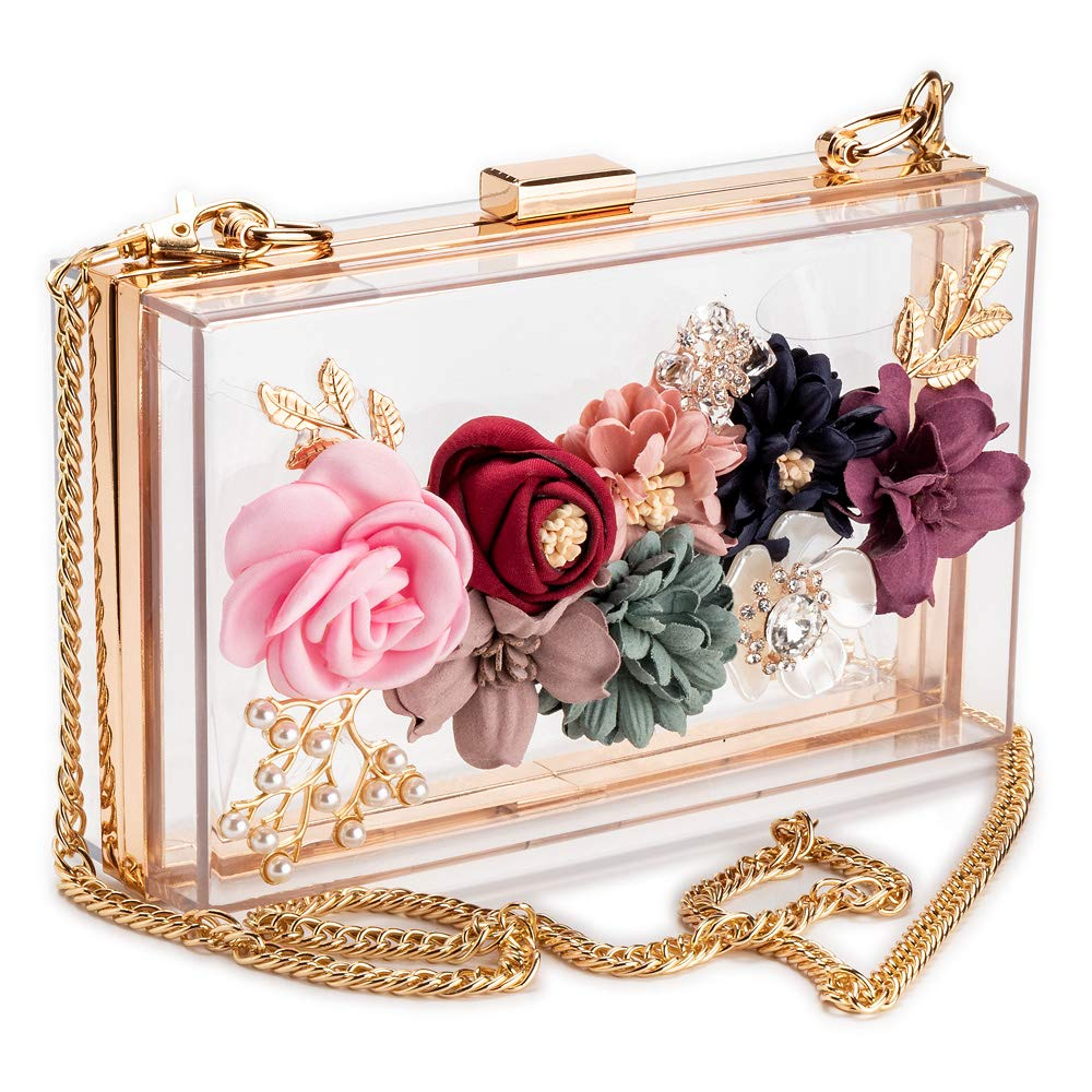 Women PVC+ fabric Flower Clutches Crossbody Floral Purse With Gold Chain Pearls Beaded Evening Bags For Wedding Prom Banquet I