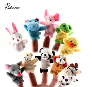 2019 Brand 3Sets Family Finger Puppets Stuffed Plush Cloth Doll Baby Educational Hand Animal Cute Toy Gift for Kids 12/10/6PCS(China)