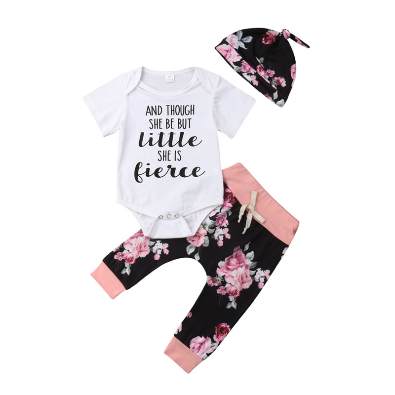 0-18 Monate Baby Set Kurzarm Brief T-shirt Für Mädchen Floral Druck Lange Hosen Baby Hüte Kinder Kind Baby Mädchen Kleidung Set