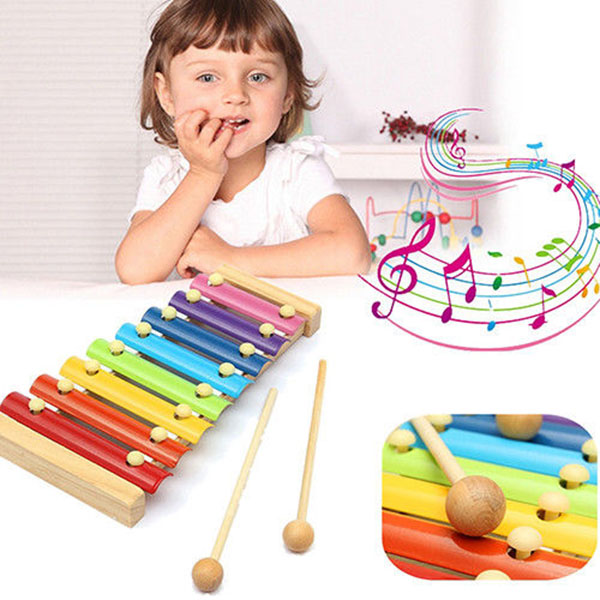 New Wooden 8 Tones Multicolor Xylophone Wood Musical Instrument Toys For Baby Kids