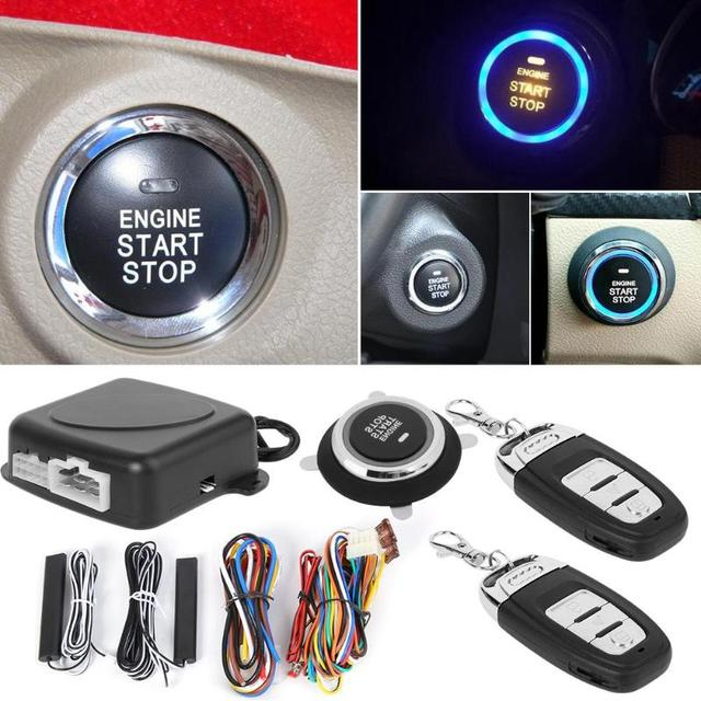 Best Price VODOOL Car Burglar Alarm Keyless Entry Engine Start Alarm System Push Button Remote Starter Stop Car Alarm Systems Security