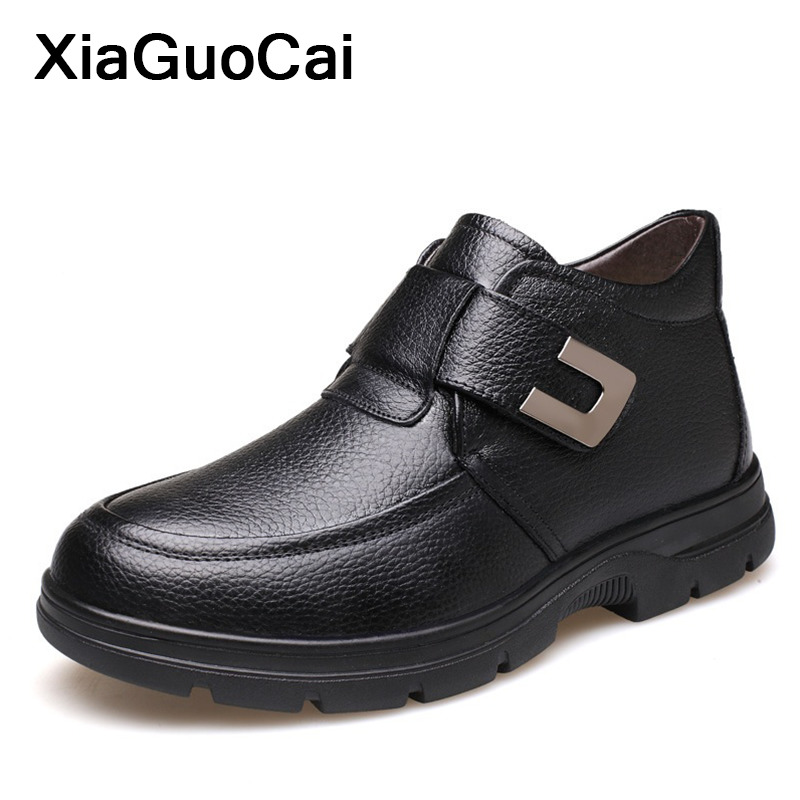 Men Winter Shoes Warm Comfortable British Genuine Leather Martin Snow Boots Waterproof Boots Man's Plush Ankle Boots With Fur