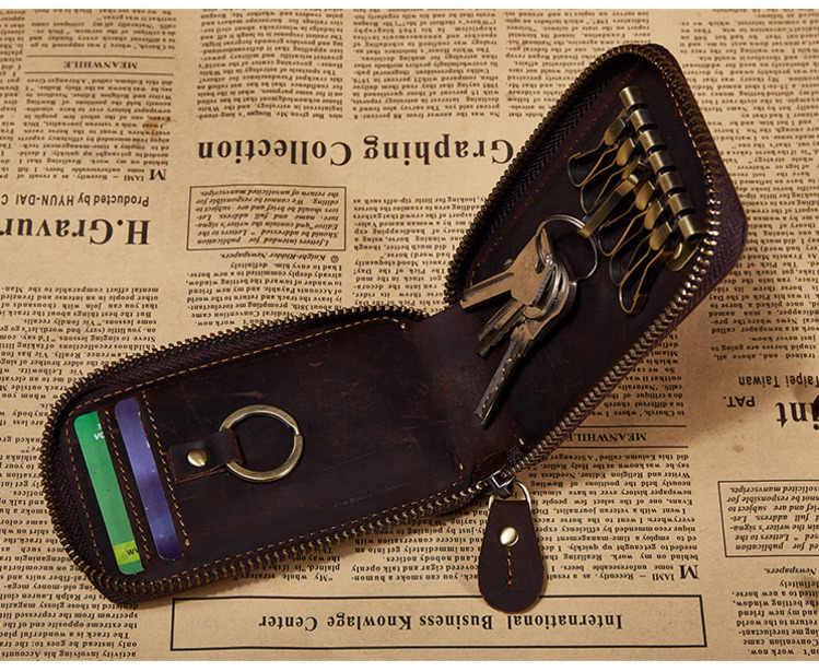 Кожаный ключница ключ кошелек умный автомобиль сумка кольцо обертывание Органайзер чехол 678-40 человек сумасшедшая лошадь кожа ретро ключ держатель