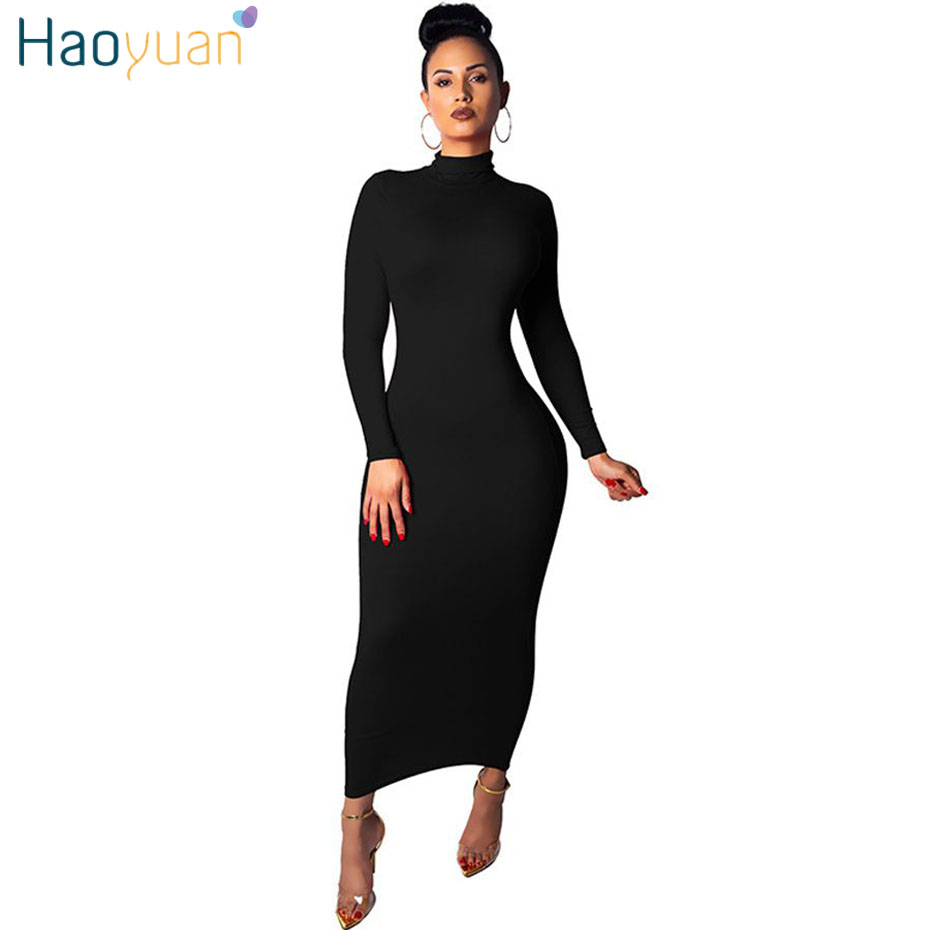 HAOYUAN Long Sleeve Turtleneck Casual Dress Women Clothes ...