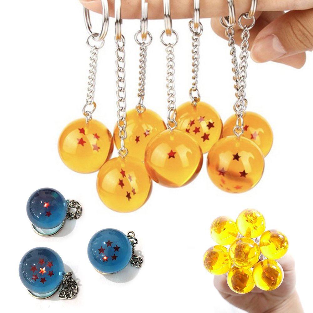 Fashion Keychain Anime Dragon Balls Cosplay Crystal Ball Stars Pendant Keyrings