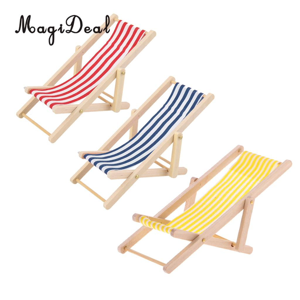 Furniture Toys Pretend Play Amicable Magideal 3 Pieces Striped Wooden Lounge Chair Beach Garden Lounger For 1/12 Dollhouse Miniature Furniture Pretend Play Toys