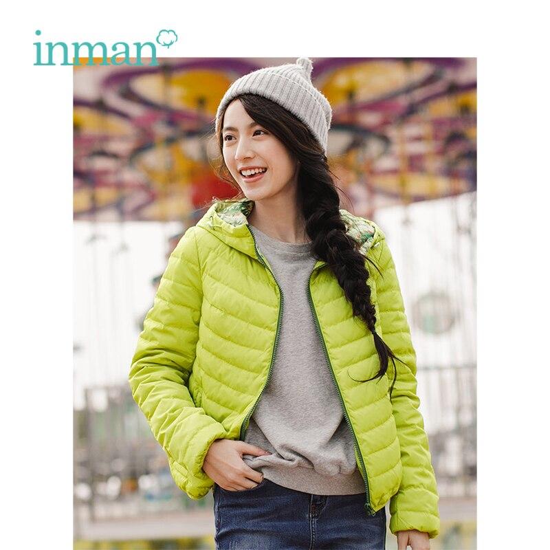 Image 2 - INMAN Spring Autumn Hooded Loose Casual Short Coat Women Down JacketDown Coats