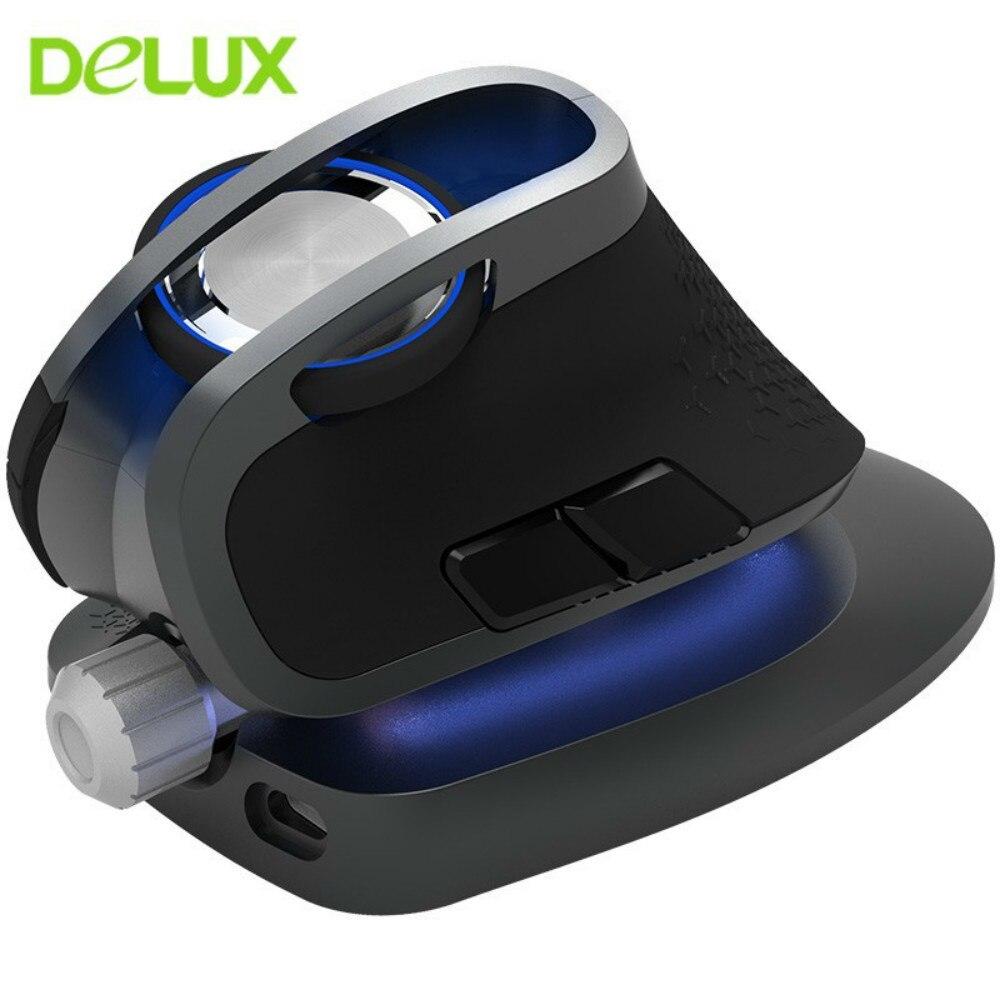 Delux M618X 2.4G souris sans fil souris bluetooth Ergonomique souris verticale 4000 DPI 6 Boutons Optique pour PC ordinateur portable de Jeu