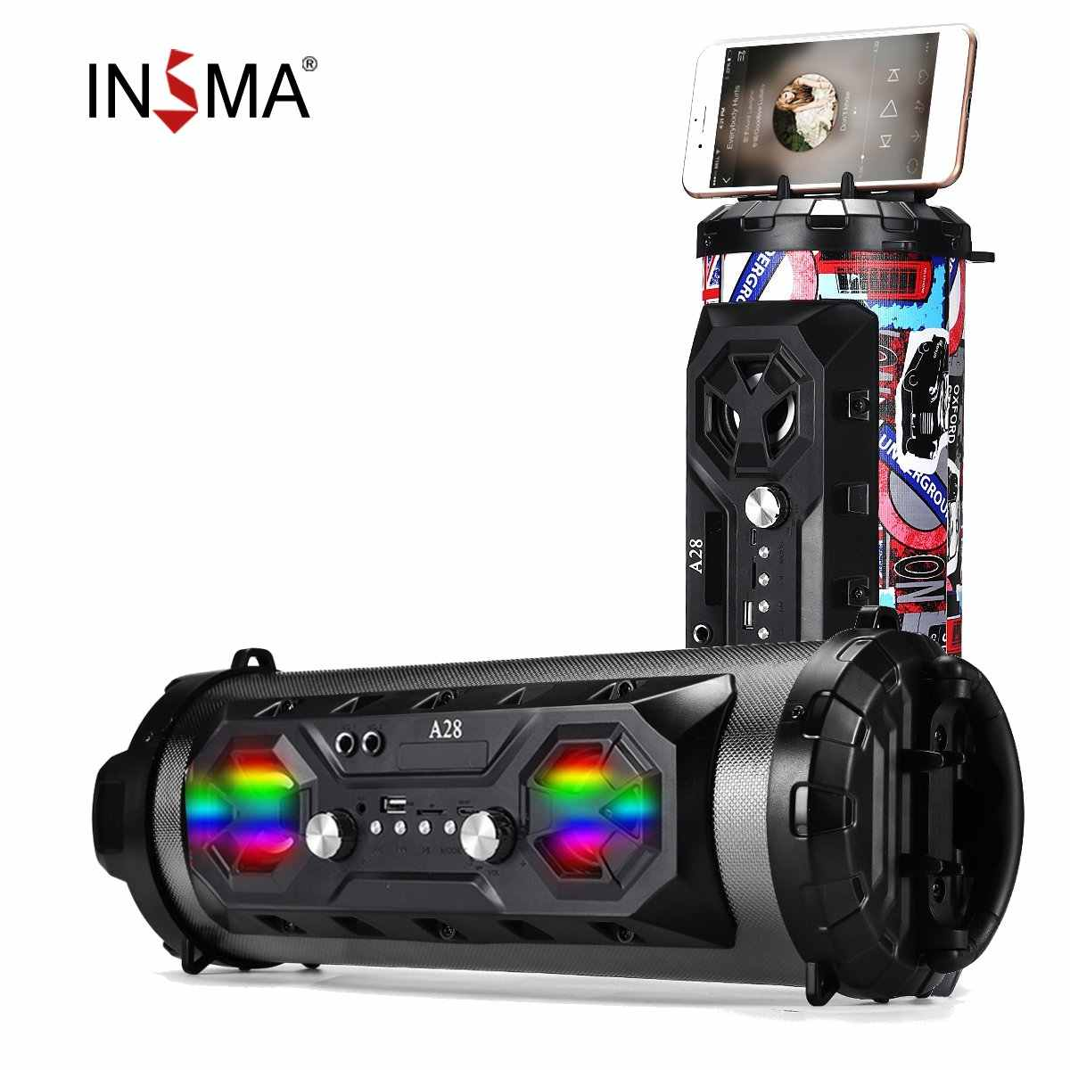 Insma HI FI Speaker Bluetooth Portable FM Radio Memindahkan KTV Wireless Surround Sound Subwoofer 20W Outdoor Speaker BOOMBOX Tf Usb