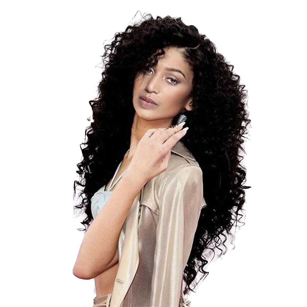 Loose Wave Lace Front Human Long Afro Kinky Curly Synthetic Wave Hair Wig for Women Cosplay Party Black long side bang slightly curly lace front synthetic wig