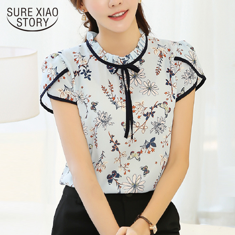 2018 New Summer tops Chiffon   Blouse     Shirt   Pastoral Wind Sweet Style Sweet print Floral   Shirt   Tie Loose   Shirt   feminina top 37i 30