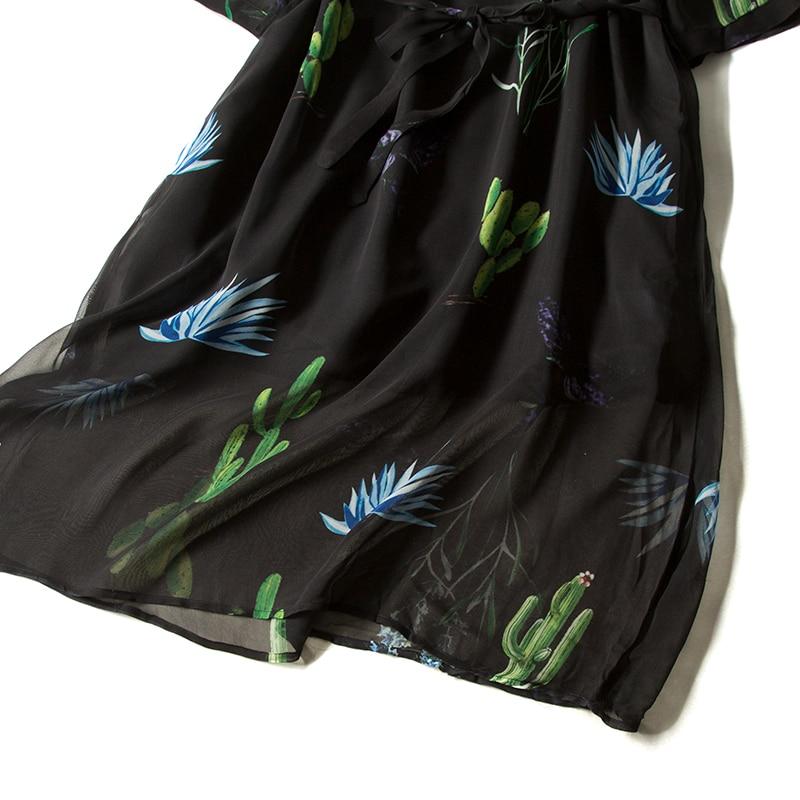 여성 드레스 100% 진짜 실크 크레페 벨트 드레스 여성 3/4 소매 v 목 2019 봄 새로운 캐주얼 드레스 블랙-에서드레스부터 여성 의류 의  그룹 3