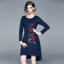 2019 new European and American womens fashion temperament heavy embroidery irregular dress free shipping