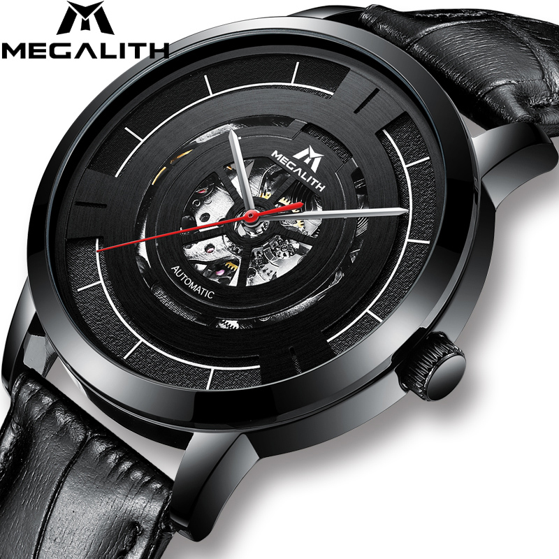 MEGALITH New Fashion Automatic Mechanical Watch For Men Waterproof Mens Skeleton Sports Watches Leather Strap Male ClockMEGALITH New Fashion Automatic Mechanical Watch For Men Waterproof Mens Skeleton Sports Watches Leather Strap Male Clock