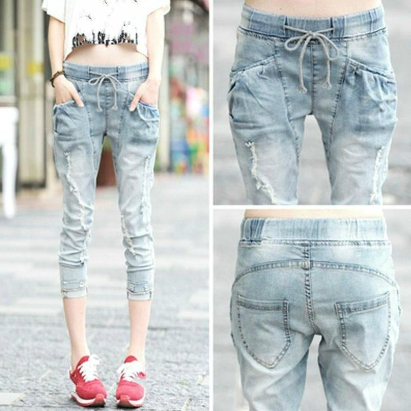 Fashion Capris Jeans Woman Summer 2020 Female Elastic Waist Calf-Length Ripped Hole Denim Pants Jeans Capri For Women Jean Femme