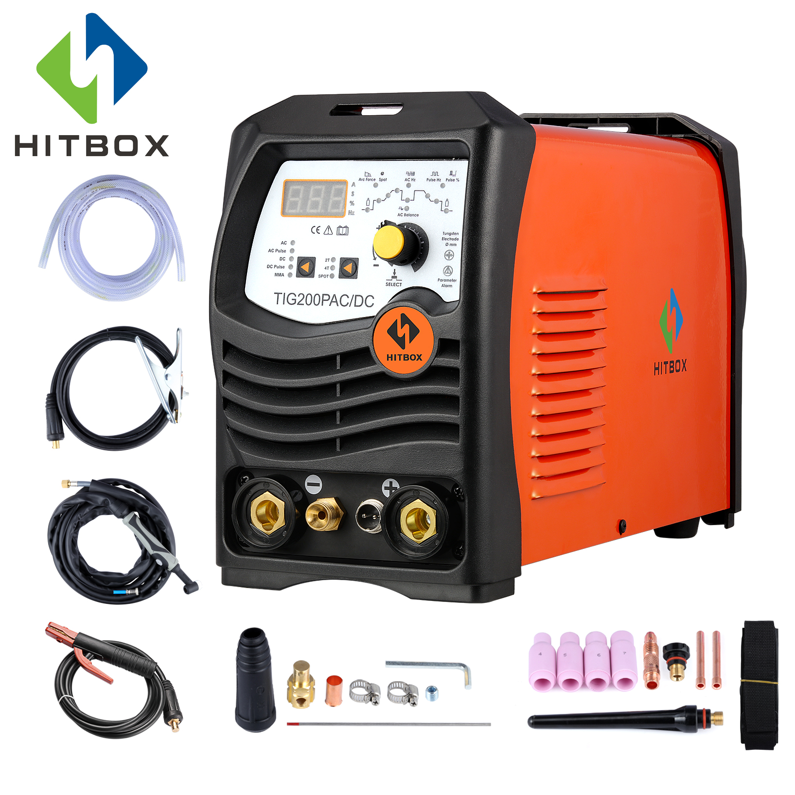 HITBOX Arc TIG сварочные аппараты алюминий сварки ACDC В 220 V TIG200P инвертор сварочное оборудование функциональные длинные расстояние управление маш