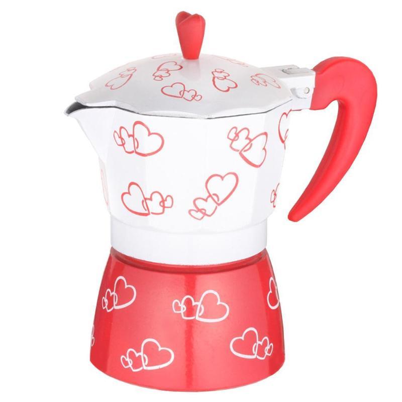 Red Heart Printed Coffee Maker Aluminum Alloy Espresso Mocha Coffee Pot Kit