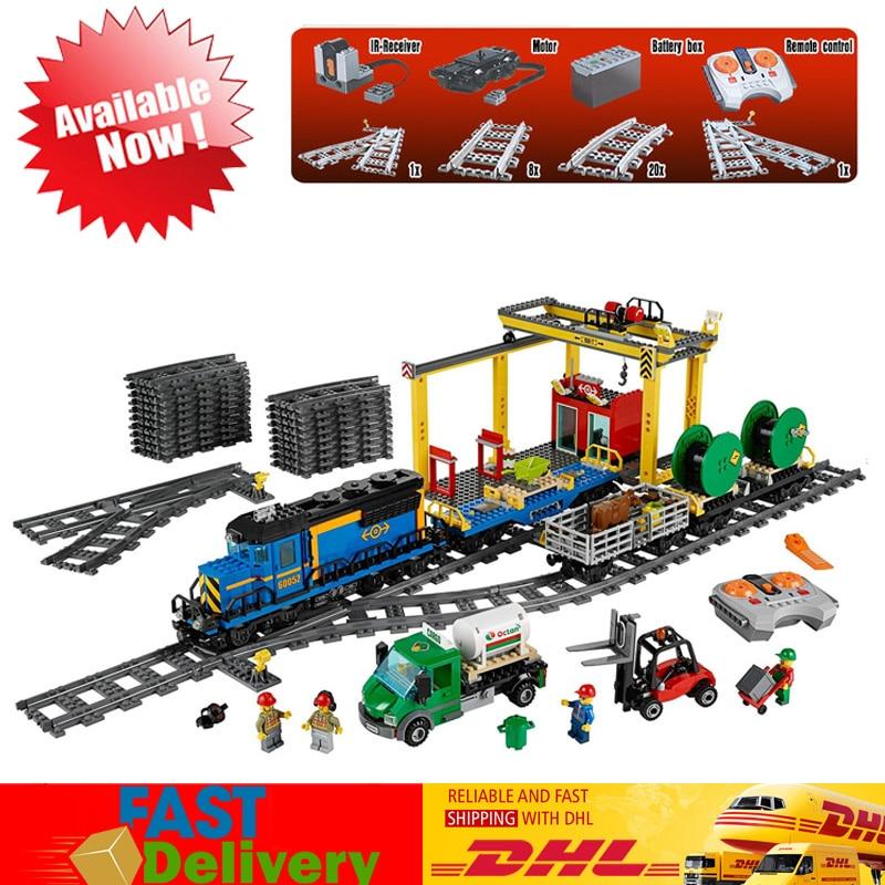 Educativos Control remoto 02010 de tren de pasajeros de alta velocidad 02008 tren de carga 02009 Compatible con LegoINGlys 60051, 60052 de 60098 bloques de juguete
