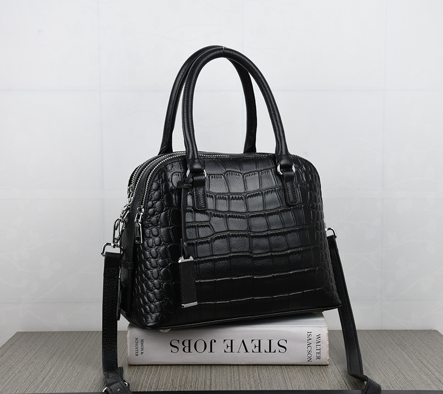 2019 Real Genuine Leather Handbags Women Messenger Bag Famous Brand Woman Shoulder Bags Female Crocodile Grain Sac Black Tote2019 Real Genuine Leather Handbags Women Messenger Bag Famous Brand Woman Shoulder Bags Female Crocodile Grain Sac Black Tote