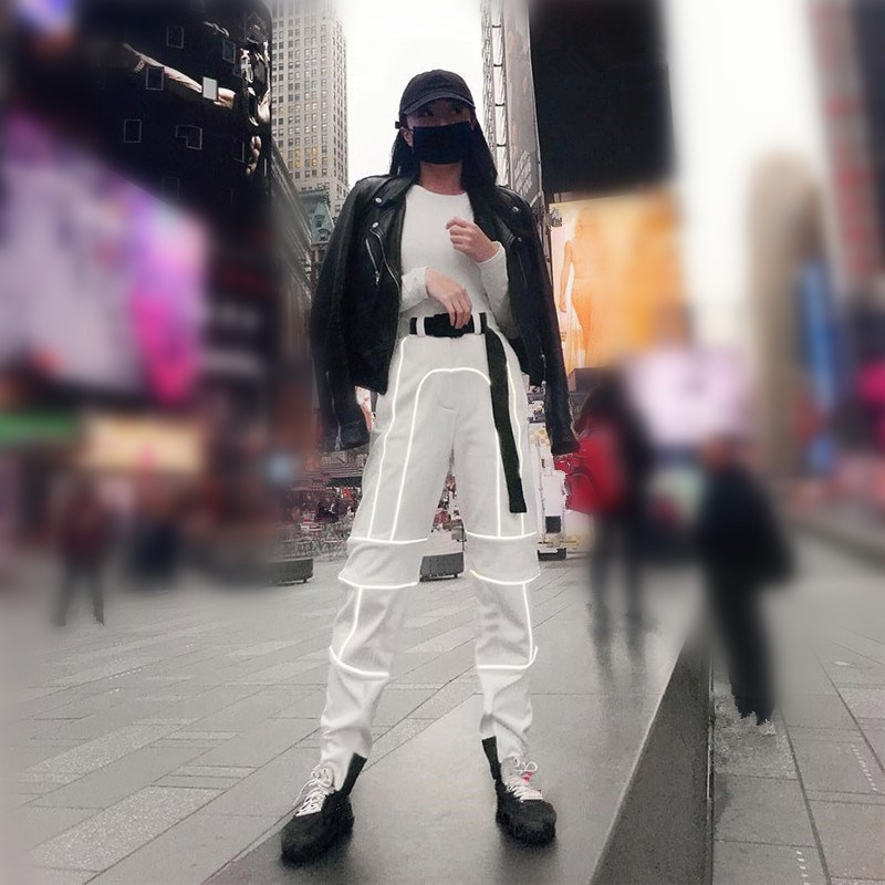 Women Reflective Patchwork Cargo   Pants   Zipper Fly with Sashes Pockets Casual Trousers Fashion Street Workout   Pants