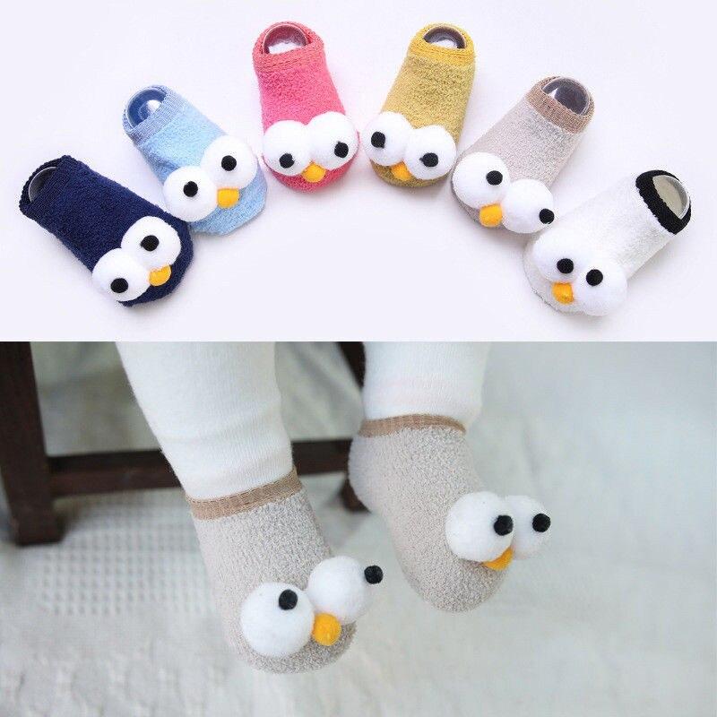 New Cotton Baby Girl Socks Cute Ants Cartoon Children Kids Non-slip Floor Socks