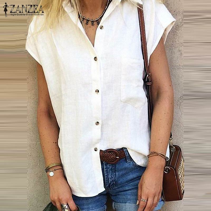 2019 Plus Size ZANZEA Summer Blouse Women Casual Solid Short Sleeve Elegant Work OL Loose Tunic Tops Chic Shirts Chemise Femme