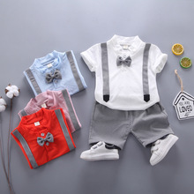 Summer Children Baby Cotton Clothes Kid Gentleman Bow Tie T-Shirt Plaid Shorts 2pcs/Sets Toddler Fashion Clothing Boy Tracksuits цены онлайн