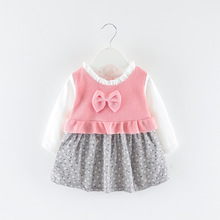 2019 Spring and Autumn new female baby autumn dress girl set childrens clothing clothes 0-1-2-3 years old