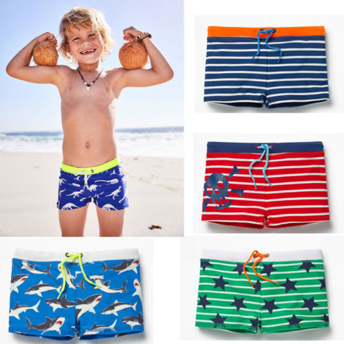 Summer Boys Swimming Trunks Shark Stripe Boxers Swim Shorts Pants Swimwear Kids title=
