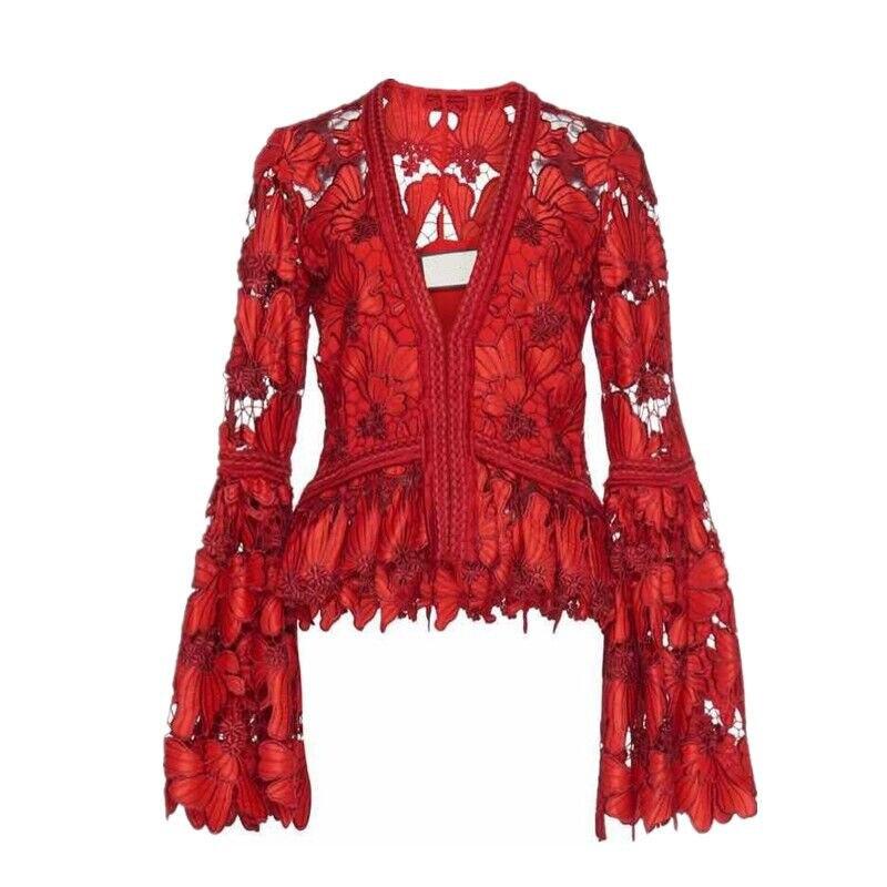 Neue Wc48303l Deat Flare ausschnitt Taille Kleidung Red Mode Ärmeln Haken Sexy Aushöhlen Frauen V 2019 Spitze Blume Rüschen Hohe Hemd L345ARjq